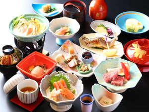 信州牛や源泉入りの豆乳鍋も味わえるグレードアップ料理一例
