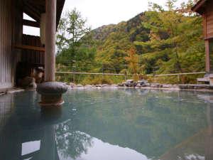 ぬるめの温泉なので長湯が出来ます。女性露天風呂10/17撮影