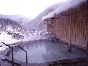 水墨画のような冬の雪見露天風呂