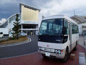 松本駅西口でお待ちしている送迎バス姉妹館「白船グランドホテル」のバスです!