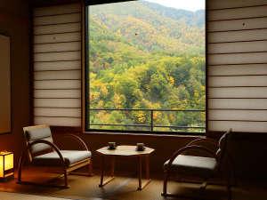 紅葉の季節には客室より絶景が見られます。