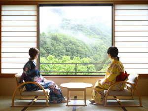 新館(東館)のお部屋の大きな窓から秘境の景色を♪