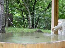 緑に囲まれたヒノキの露天風呂♪ 自然の恵みに感謝できます。