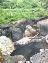 貸切露天風呂。奥飛騨の新緑の季節におすすめです。