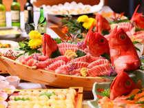 伊豆の特産『金目鯛の刺身』も食べ放題!