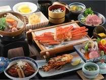 海の幸満載プラン、カップルプラン、ファミリープランの料理例。蟹は2名様分