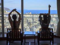 【センターウイング館 和洋室44平米】伊東の高台に位置しており、海まで一望できます!